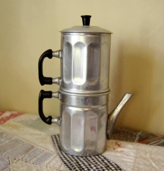 Neapolitan Flip Coffee Pot ~ Vintage neopolitan flip coffee pot from italy