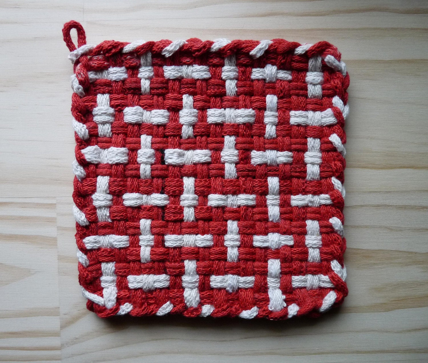 Red and White Pattern Woven Cotton Loop Loom Potholder by taramade