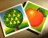 "Fridge magnets from vintage memory cards ""apple pears"", set of two"