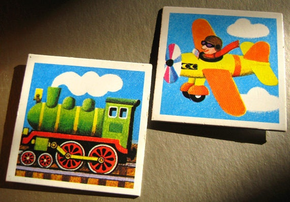 """Fridge magnets from vintage memory cards """"steam locomotive plane"""", set of two, FREE SHIPPING"""
