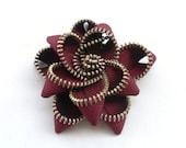 Floral BroochDark red  / Zipper Pin - Approx 3.5 in/ 9 cm
