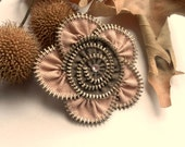 Flower Brooch Apricot and French brown, Zipper Pin. Approx 2,8 in/ 7 cm.- eco friendly, recycled jewelry