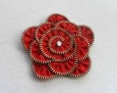 zipper brooch, Red Flower Brooch ,Zipper Pin. Approx 3.2 in/ 8 cm. eco friendly, recycled jewelry