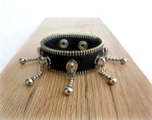 Zipper steampunk bracelet, black eco friendly, recycled jewelry, zipper bracelet
