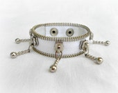 Zipper bracelet, gift for her, handmade jewelry, creatively jewelry, white, eco friendly, recycled jewelry