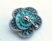 Recycled jewelry, Handmade zipper brooch, grey and cyan flower,  Zipper Pin. 2.8 in/ 7 cm, eco friendly