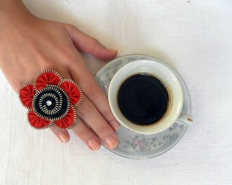 Flower Ring, Zipper jewelry, Black and Red, plated silver ring .YKK Zipper-Ring is adjustable. eco friendly, recycled jewelry
