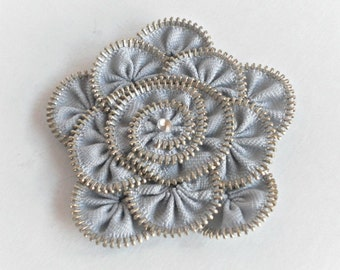 Gift for her,zipper brooch, grey Flower Brooch ,Zipper Pin. Approx 3.2 in/ 8 cm. eco friendly, recycled jewelry