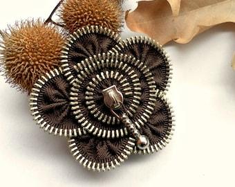 Flower brooch, zipper jewelry, Brown Zipper Pin. 2.8 in/ 7 cm,eco friendly, recycled jewelry