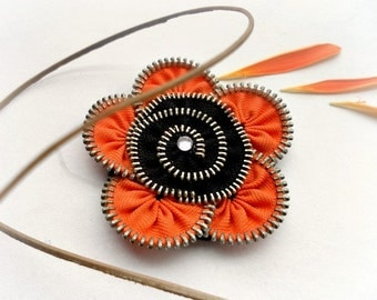 Unique gift, zipper brooch, orange and black flower,  Zipper Pin. 2.8 in/ 7 cm,eco friendly, recycled jewelry, gift ideas