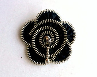 zipper brooch,black zipper handmade flower,  Zipper Pin. 2.8 in/ 7 cm,eco friendly, recycled jewelry