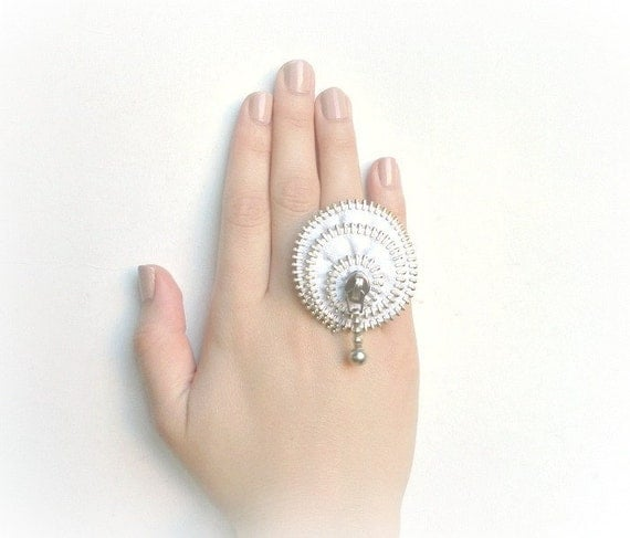 Unique gift, zipper ring, white ring, plated silver ring Ring is adjustable.eco friendly, recycled jewelry, Gift ideas