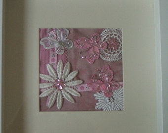 Flower Textile Collage - Baby Pink Butterfly & Daisy Original Hand Sewn Picture