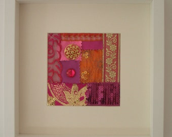 Textile Contemporary Spicy Oranges & Pinks, buttons and fabrics Picture - A Wonderful Present