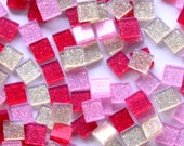 Acrylic Mosaic 5x5mm tiles - Pink Red Mix Sparkles