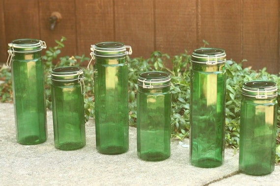 Final Sale 6 Vintage Green Glass Canisters By