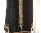 Velvet Jacket w/Ribbon and Copper Beads - Size S