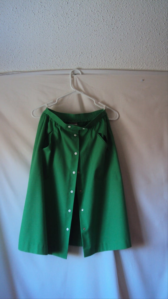 Grass Green Snap Front Skirt 1980s S/M