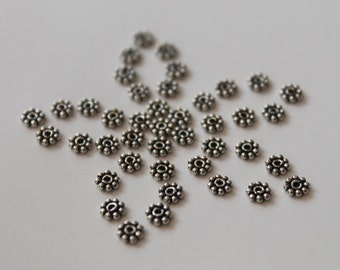 Artisan Bali Sterling Silver Daisy Spacers, Antique Finish, 925 Sterling Silver, 4.2 x 1 mm, 10 pieces (DS4003AS)