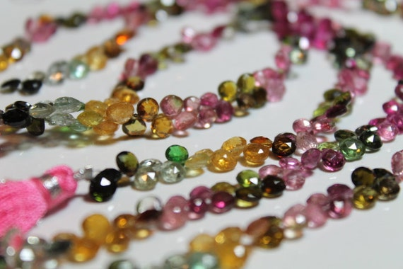 Watermelon Tourmaline Faceted Heart Briolettes, 5.5 - 6.5 mm, 18 beads GM3701FH/6/18