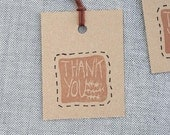 5 handmade 'Thank you' stamp Labels