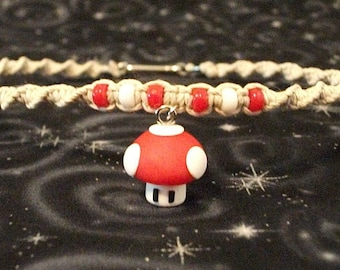 Natural Hemp Twist Necklace with Polymer Clay Mario Super-Shroom and Accent Beads