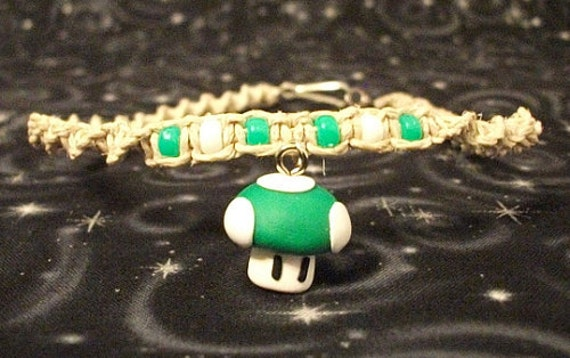 Natural Hemp Twist Necklace with Polymer clay Mario 1-Up Shroom and Accent Beads