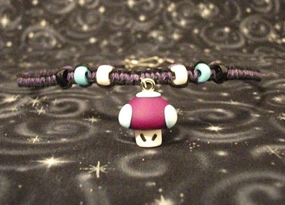 Black and Purple Hemp Necklace with Polymer Clay Mario Poison Mushroom and Accent Beads