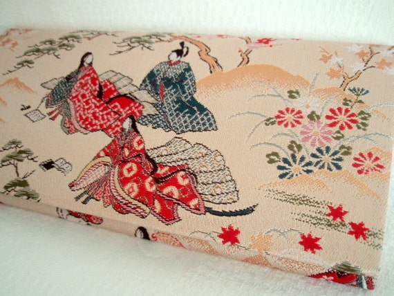 JAPANESE Wallet UNIQUE Kimono Fabric Flap Japan Tsume Immortal Poets Cherry Blossom Japanese Aristocratic Collectibles
