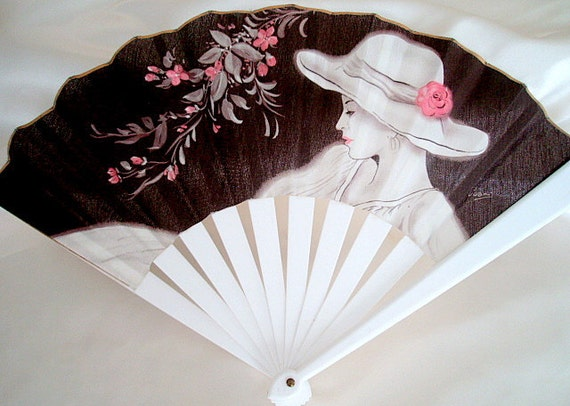 Mother's Day Gifts Cherry blossom 1920s style Folding Fan Baroque Vintage Great Gatsby Art deco Summer Retro