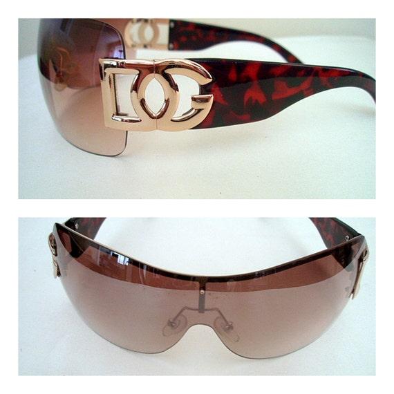 DG Sunglasses Aviator Motorcycle Choppers Goggles Designer Shades Ombre Lenses Oversized Brown Tortoiseshell
