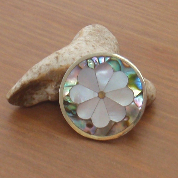 Vintage Mexican Modernist brooch, mother-of-pearl and abalone
