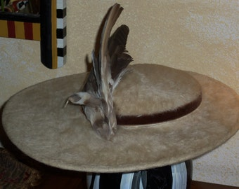 Stunning OOAK Vintage Original Henry Margu Creations Wide Brimmed Hat with Perched Bird For Macy's