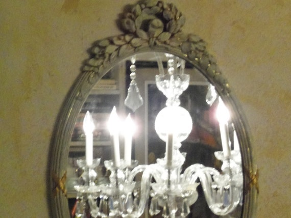 Shabby Chic Paris Apartment Oval Mirror Hand Painted