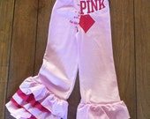 Up-cycled Pink Flare Leggings with Ruffles