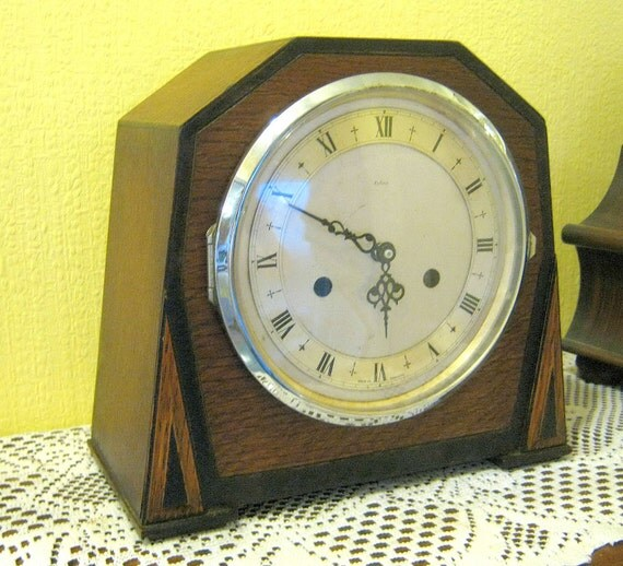 Art Deco Clock Recycled Vintage Mantel Shelf