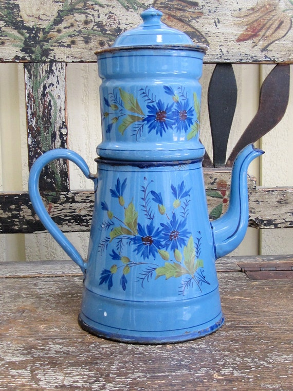 SALE French Enamelware blue hand-painted coffee pitcher