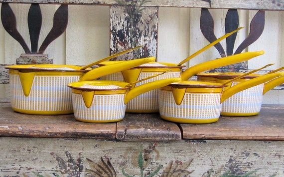 SALE French Enamelware yellow and white saucepans
