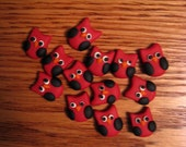Custom Listing for Corrie: Small Red and Black Sculpy Clay Owls