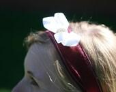 Burgandy Tie-Headband with White Bow