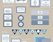Baby-Q Bash Partie Kit : Midnight Blue, Emerald and Coral Options available - PRINTABLE