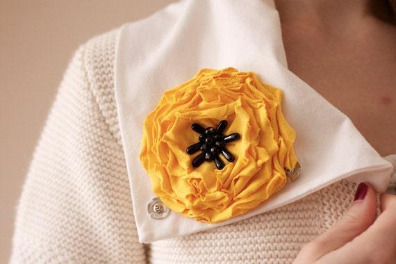 Fabric Flower Brooch Pin Yellow Poppy