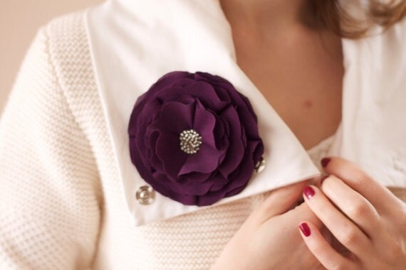 Fabric Flower Brooch Pin Purple with beads