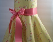Girls Cherry Blossom Custom Dress Size 5 Yellow and Candy Pink Ready To ship