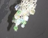 Earrings Blue green Swarovski Crystal Cubes silver chain - Water fall