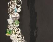 Bracelet Blue Crystal Aqua Swarovski Crystal Silver chain Charms - Carolina bluez