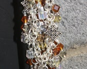 Bracelet Amber Brown Gold AB Swarovski Hard Core Cyrstal silver charms