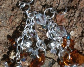 Earrings Swarovski Crystal brown amber silver Czech glass