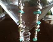 Earrings, native American earrings, turquoise earrings, wire wrap earrings