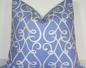 Throw Pillow Cover 20 X 20 - Fretwork Pattern - Periwinkle And Ivory - Lined